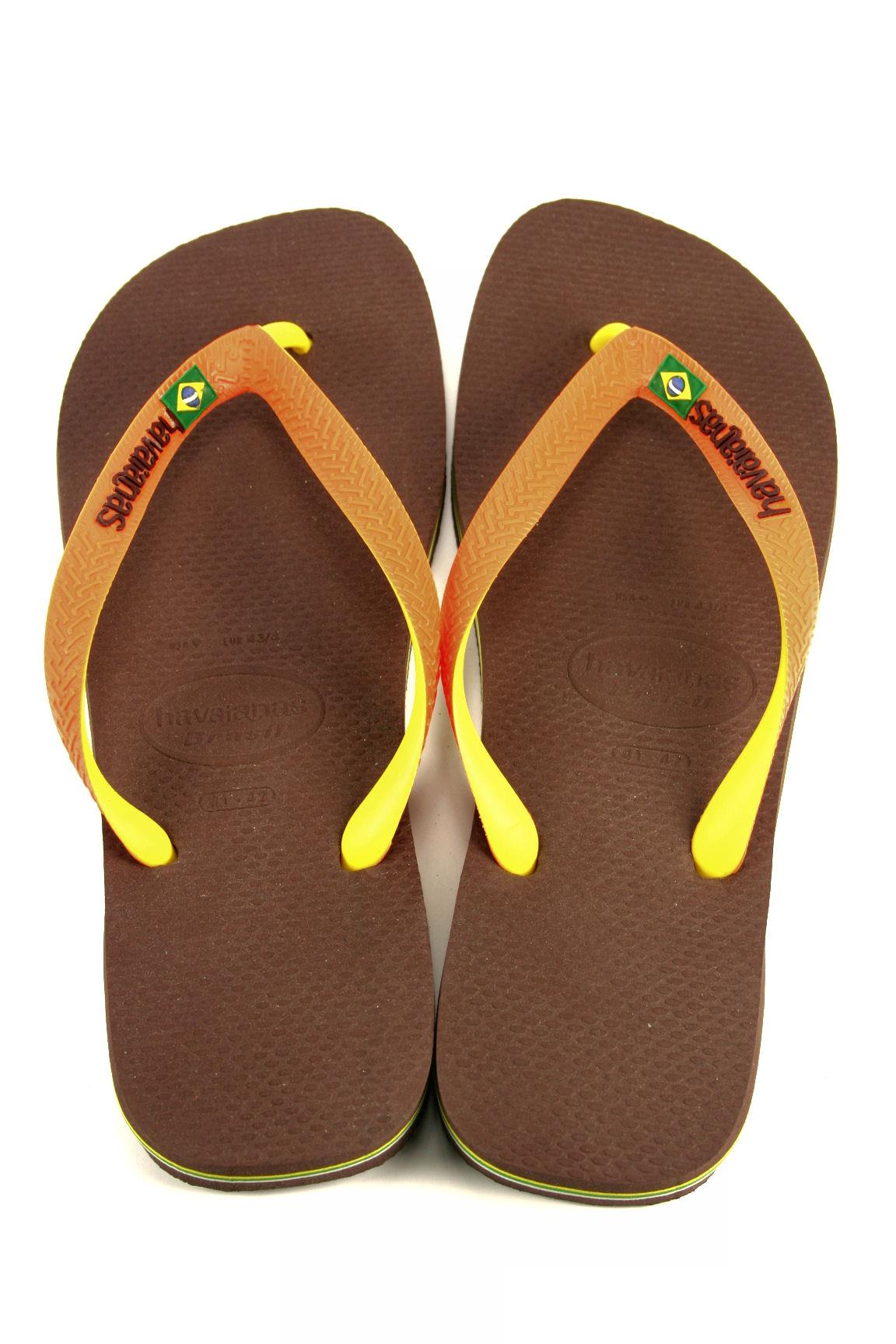 8fc5be4b2034 Havaianas Brasil Mix Dark Brown Orange HAVAIANAS Flat Sandals