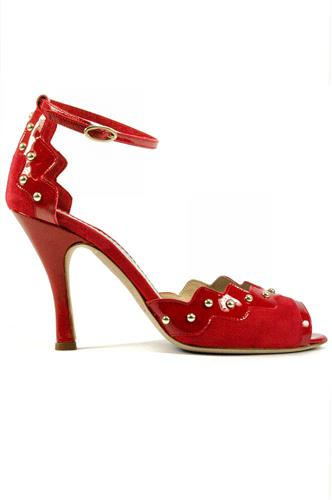 Claire Red Suede Patent Leather Studs MINA BUENOS AIRES High